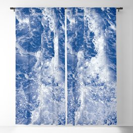 Navy Waves Summer Beach Blackout Curtain