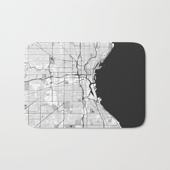 Milwaukee Map Gray Bath Mat