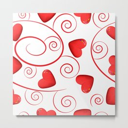 Red hearts and swirls on white background Metal Print