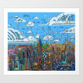 new york city skyline colorful Art Print