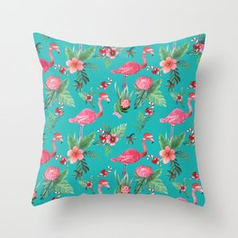 Santa Flamingo Christmas, Holiday Tropical Watercolor Throw Pillow
