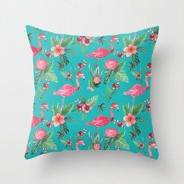 Santa Flamingo Christmas, Holiday Tropical Watercolor Throw Pillow