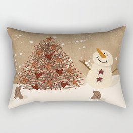 Primitive Country Christmas Tree Rectangular Pillow