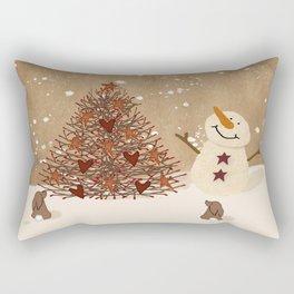 Primitive Country Christmas Tree Rectangular Pillow