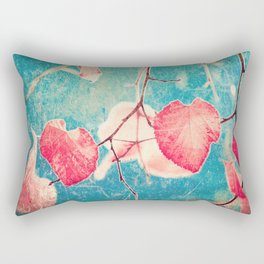 Autumn Hea(u)rts - Textured photography, pinks leafs in blue sky  Rectangular Pillow