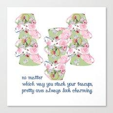 Shabby Chic Designs Pretty Teacups Canvas Print