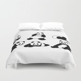 Panda group Duvet Cover