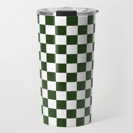 Large Dark Forest Green and White Check Squares Travel Mug