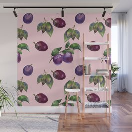 Watercolor plums Wall Mural