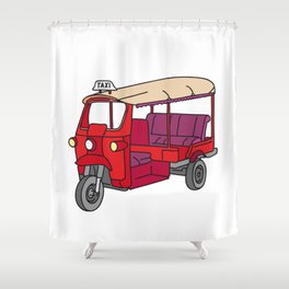 Red tuktuk / autorickshaw Shower Curtain
