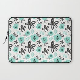 Mint and black flowers Laptop Sleeve