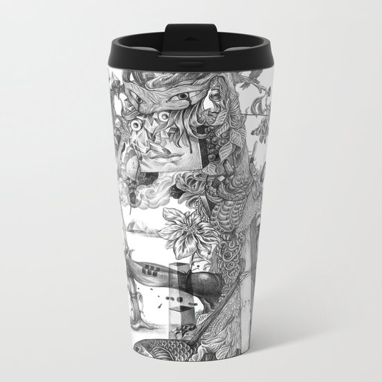 compositions Naturally (Black&White) Metal Travel Mug