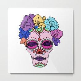 Calavera skull with floral Metal Print