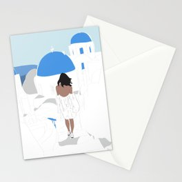 Fashion Girl Wandering the Steps of Santorini, Greece Stationery Cards