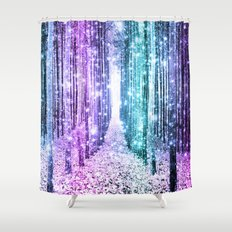 Magical Forest Lavender Aqua Teal Ombre Shower Curtain