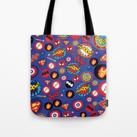 super hero Tote Bags featuring Movie Super Hero logos by Nick's Emporium Gallery