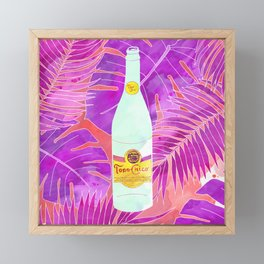 Topo Chico Art - Seltzer Bottle Texas Print with Tropical Background Framed Mini Art Print