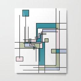Untitled Line Composition- Mondrian Inspired Digital Illustration Art Print Metal Print