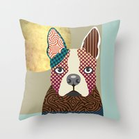 boston terrier Throw Pillows featuring Boston Terrier  by Lanre Studio