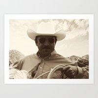 cowboy Art Prints featuring Cowboy by DistinctyDesign