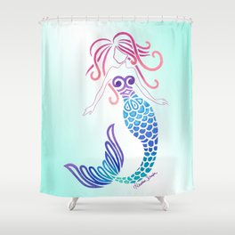 Tribal Mermaid with Ombre Turquoise Background Shower Curtain