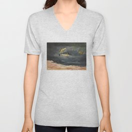 Vintage Winslow Homer Fish & Butterfly Painting (1900) Unisex V-Neck