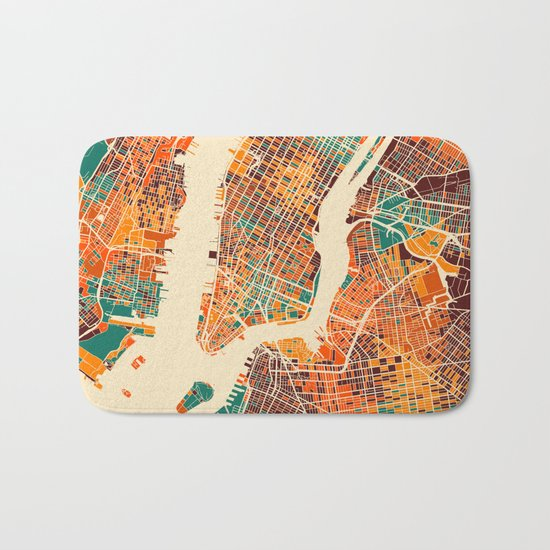 New York Mosaic Map #2 Bath Mat