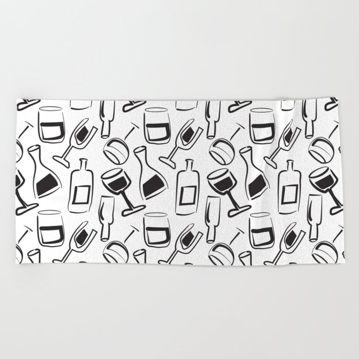Wine Lovers Illustrated Wine Glasses and Wine Bottles Beach Towel