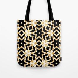 Art Deco Gold Foil Star Pattern Tote Bag