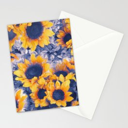 Sunflowers Blue Stationery Cards