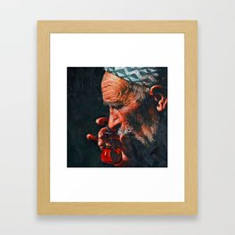 A big man drinks tea Framed Art Print
