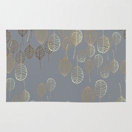 Golden Leaves - Gray Rug