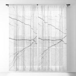 preppy minimalist modern chic grey white marble Sheer Curtain