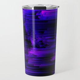Ultraviolet Light Speed - Abstract Glitch Pixel Art Travel Mug