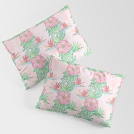 Tropical flowers and leaves watercolor Pillow Sham