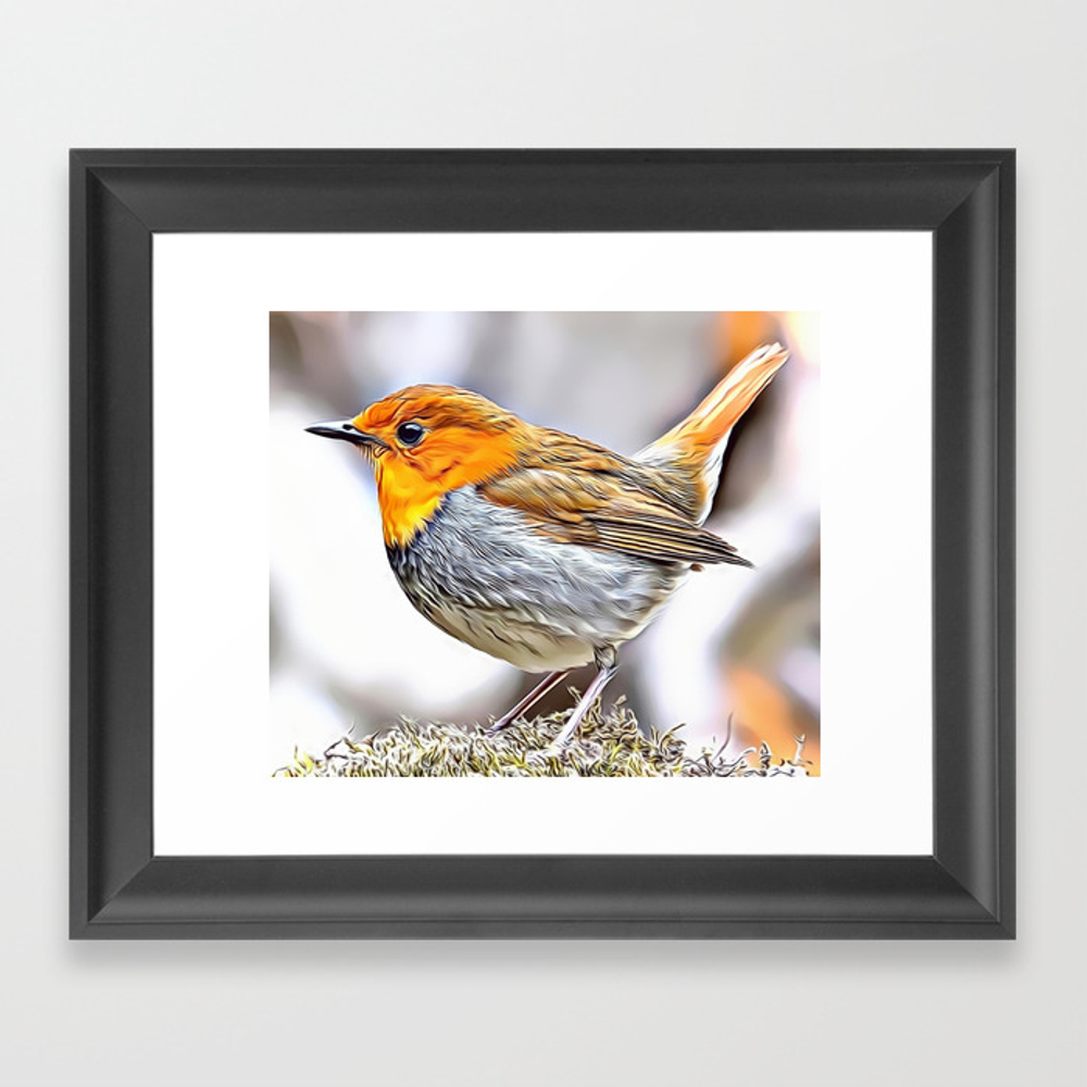 Robin Redbreast Airbrush Artwork Framed Art Print by Russcarts (FRM9791332) photo