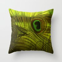 peacock feather Throw Pillows featuring Peacock Feather by TaLins