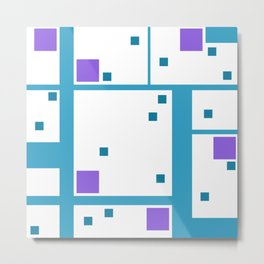 Violet Rectangle with turquoise Lines Metal Print