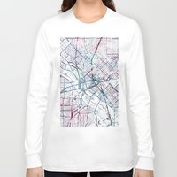 dallas Long Sleeve T-shirts featuring Dallas map by MapMapMaps.Watercolors