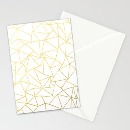 Ab Outline White Gold Stationery Cards