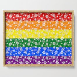 Christmas Pride Bright Festive Rainbow Snowflakes Serving Tray