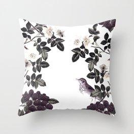Blackberry Spring Garden - Birds Bees and Flowers Throw Pillow