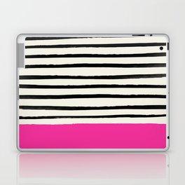 Bright Rose Pink x Stripes Laptop & iPad Skin