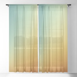 Gradient Colours: Orange Blue Sheer Curtain