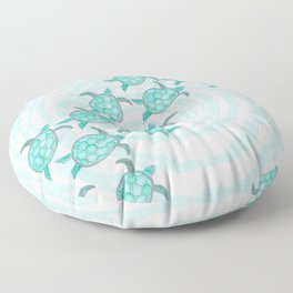 Watercolor Teal Sea Turtles on Swirly Stripes Floor Pillow