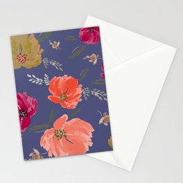 Watercolor peonies Mandarine, wine, golden colors Stationery Cards