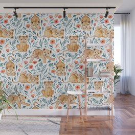 Lazy Lion Cubs and Pretty Poppies on White Wall Mural