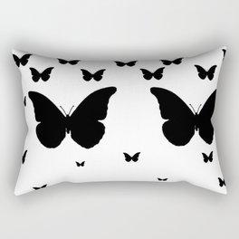 GOTHIC EBONY BLACK BUTTERFLIES & WHITE-BLACK ART Rectangular Pillow