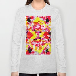 psychedelic geometric triangle polygon abstract pattern in red pink yellow Long Sleeve T-shirt