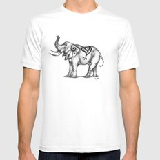 Stylized Elephant White Mens Fitted Tee X-LARGE